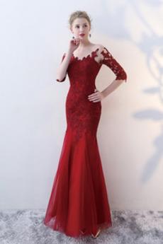 Reißverschluss Meerjungfrau Natürliche Taille Elegante Abendkleid