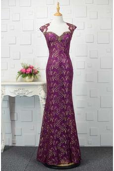 Trichter Kurze Ärmel Natürliche Taille Juwel akzentuiertes Mieder Abendkleid