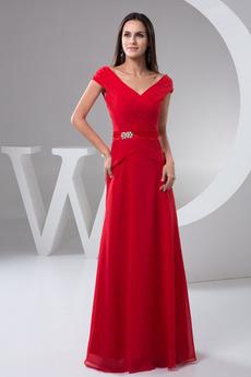 A Linie Formalen Kurze Ärmel Mit geschlossenen Ärmeln Abendkleid