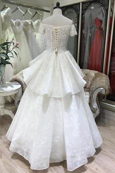 Klassisch Halle Birne Organza Natürliche Taille Hochzeitskleid