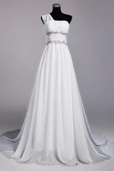 Bodenlänge A Linie Perlengürtel Chiffon Draussen Weiß Brautkleid