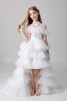 Natürliche Taille Abgestuft Romantisch Tüll Blumenmädchen kleid