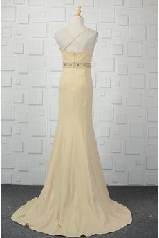 Natürliche Taille Reißverschluss Kristall Bankett Abendkleid