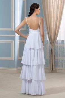 Ärmellos Übergröße Chiffon V-Ausschnitt Rückenlose Brautkleid