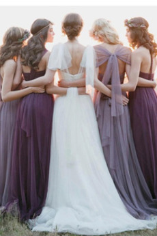 einfache Fegen zug Drapiert Gefaltete Mieder Brautjungfernkleid