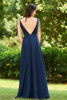 Fegen zug Chiffon V-Ausschnitt Natürliche Taille Brautjungfernkleid