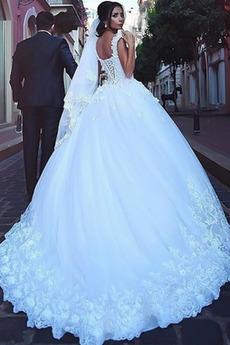 Natürliche Taille Mit geschlossenen Ärmeln Rückenlose Brautkleid