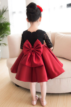 Reißverschluss Akzentuierter Bogen Knielänge Kleine Mädchen Kleid