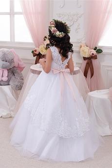 Formalen Natürliche Taille Lehnenlose Winter Kleine Mädchen Kleid
