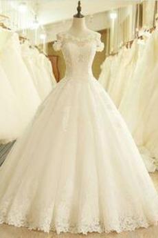 Scoop Natürliche Taille Fallen Kurze Ärmel Prinzessin Brautkleid