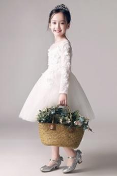 T Hemd Stickerei A Linie Juwel Reißverschluss Tüll Blumenmädchen kleid