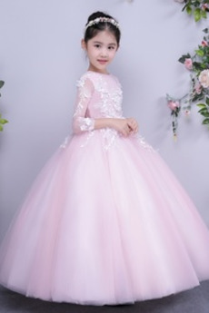 Formalen Reißverschluss Appliques Juwel Knöchellänge Blumenmädchen kleid