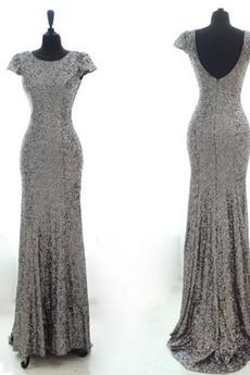 Glänzend Sequiniert Reißverschluss Kurze Ärmel Pailletten Abendkleid