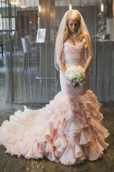 Halle Klassisch Fallen Natürliche Taille Meerjungfrau Brautkleid