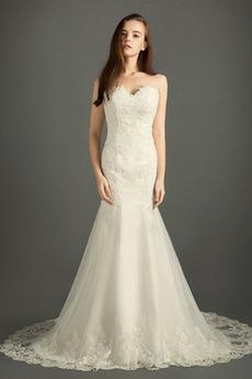 Ärmellos Appliques Draussen Schatz Fallen Zierlich Tüll Brautkleid