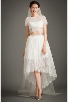 T Hemd Hoch niedrig Strand Reißverschluss Asymmetrische Brautkleid