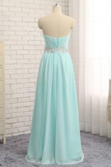 Trägerlos A Linie Bördeln Elegante Perlengürtel Bankett Abendkleid