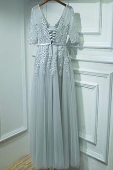 Elegante v-Hals A Linie Illusionshülsen Natürliche Taille Trauzeugin kleid