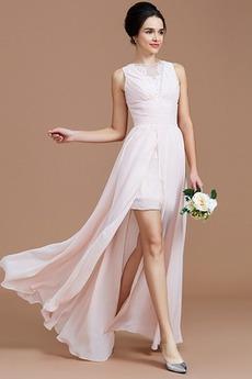 Sommer Natürliche Taille Reißverschluss Ärmellos Brautjungfernkleid