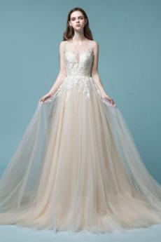 Tüll Frenal Taste Reiner zurück Draussen Lange Hochzeitskleid