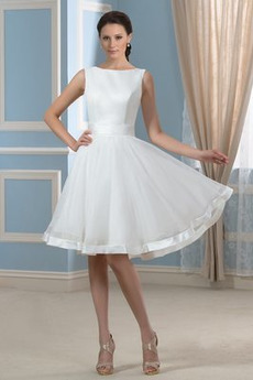 Natürliche Taille Schaukel Draussen Bateau Sommer Brautkleid