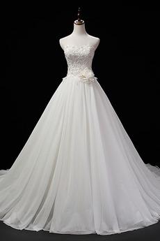 Ärmellos Trichter Natürliche Taille Schnüren Blumen Hochzeitskleid