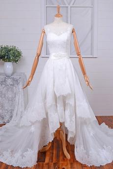 Ärmellos Natürliche Taille Breit flach Kapelle Zug Hochzeitskleid
