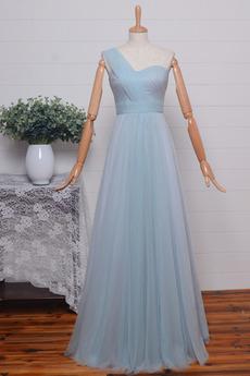 Ärmellos Natürliche Taille Asymmetrisch Tulle Brautjungfer kleid