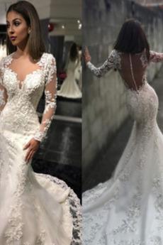 Königin anne Draussen Illusionshülsen Tiefer V-Ausschnitt Hochzeitskleid