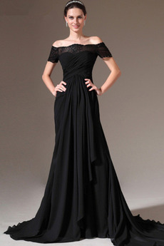 Trichter Kurze Ärmel Tau Schulter Reißverschluss Falten Abendkleid