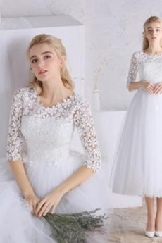 Reißverschluss T Hemd A Linie Spitze Natürliche Taille Brautkleid