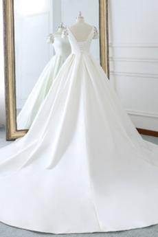 Rückenfrei Kirche Zurückhaltend Elegante Lange Frühling Brautkleid