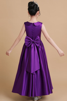 Juwel Natürliche Taille Fallen Knöchellänge Blumenmädchen kleid