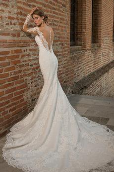 Hoch bedeckt Natürliche Taille Fallen Meerjungfrau Tüll Brautkleid