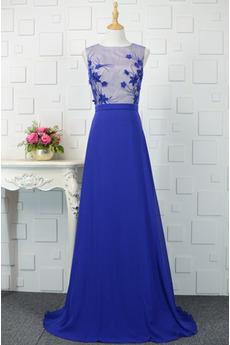 Juwel Appliques Natürliche Taille Draussen Akzentuierte Rosette Abendkleid