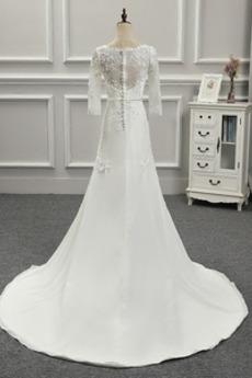 Glamourös Draussen Halbe Ärmel Natürliche Taille Juwel Brautkleid