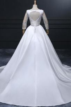 Lange Gefaltete Mieder Lange Ärmel Natürliche Taille Hochzeitskleid