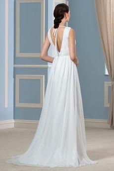 Ärmellos Sommer Lehnenlose Natürliche Taille Einfache Brautkleid