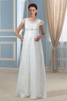 Reich Taille Romantisch Strand Akzentuierter Bogen Brautkleid mit kurzen Ärmeln