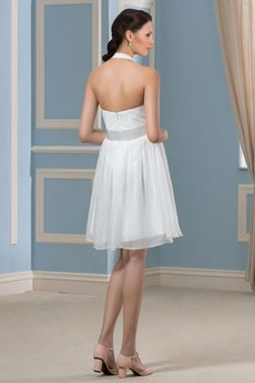 Draussen Knielänge Sommer Übergröße Halfter Rückenlose Brautkleid