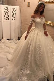 Lange Lange Ärmel Draussen Spitzenüberlagerung Jahrgang Brautkleid