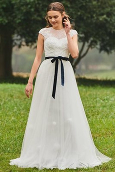 Bow A Linie Spitze Einfach Juwel Brautkleid mit kurzen Ärmeln