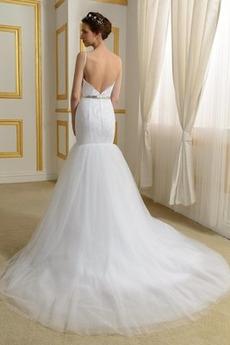 Perlengürtel Spitze Drapiert Zierlich Meerjungfrau Brautkleid