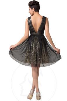 Glamourös Sequiniert A Linie v-Hals Tanzparty Ärmellos Ballkleid