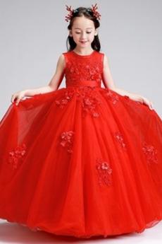Reißverschluss Schaukel Knöchellänge Juwel Kleine Mädchen Kleid