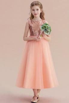 Drapiert Juwel Frenal Reißverschluss Pailletten Mieder Kleine Mädchen Kleid