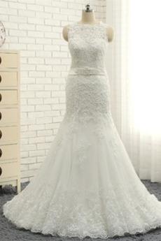 Winter Kirche Natürliche Taille Länge des Bodens Hochzeitskleid
