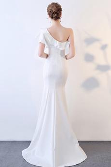 Asymmetrische Hülsen Natürliche Taille Trichter Weiße Abendkleid