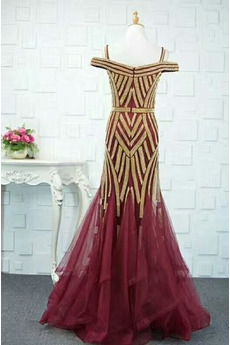 Schöne Juwel akzentuiertes Mieder Reißverschluss Tüll Abendkleid