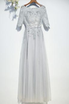 Tüll Sommer Bodenlänge Illusionshülsen Rechteck Brautjungfernkleid